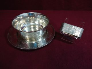 William Wise & Sons Sterling Silver Child Set Cupid Plate Bowl Napkin Ring 3pc photo