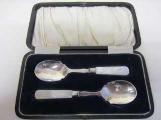 Cased Set Of 2 Silver Plated Mother Of Pearl Mop Handled Preserve Spoons photo