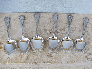Austria - Hungary Antique Silver Sterling Set 6 Spoons Vienna 19th Cen.  Signed 173g photo