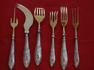 6 Rare Imperial Russian 84 Silver Servers W/ Gilded Blade No Mono photo