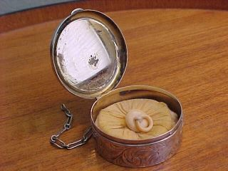 Signed Antique Victorian Sterling Silver Chatelaine Powder Compact W Puff photo