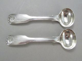 2 English Georgian Sterling Salt Spoons Fiddle Thread & Shell Heavy photo