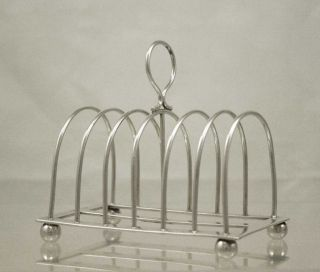 Antique Silver Toast Rack 6 Division Arched Racks Sheffield 1899 William Hutton photo
