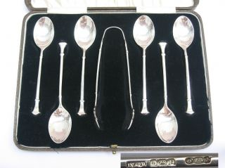 Stunning Art Deco 1929 Cased Set,  Sterling Silver Spoons & Tongs Docker & Burn. photo
