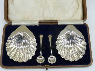 Antique Solid Hallmarked Sterling Silver Pair Of Salts With Box 58.  8g photo