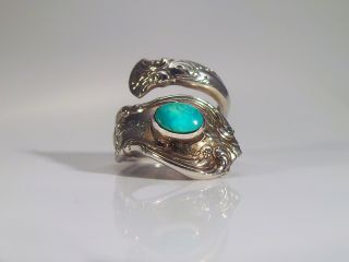 Towle Old Master Sterling Silver Spoon Ring With Turquoise Size 6.  5 photo