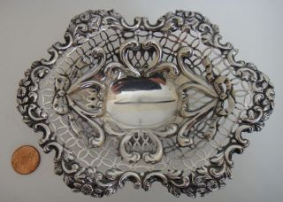 Hallmarked Sterling Silver Antique Pierced Bowl Dish London 1891 - 3.  59 Tr Oz. photo