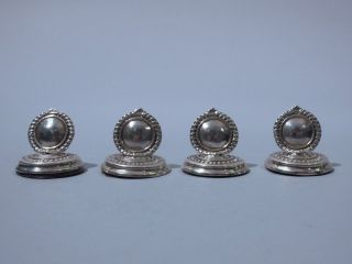 English Set Of Four Sterling Place Card Holders photo