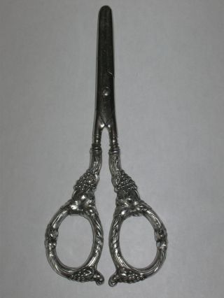 Antique/vintage Sterling Silver Grape Shears - Berries & Leaves On Handles - 6