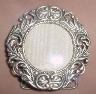 Antique Silver 800 Desk Picture Frame Glass Italy 2.  8