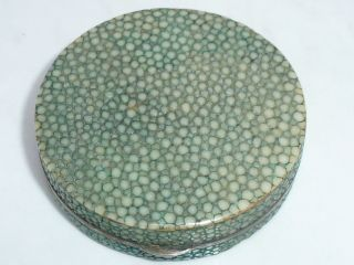 Antique Silver Shagreen Powder Compact Patch Box Continental Import Marks photo
