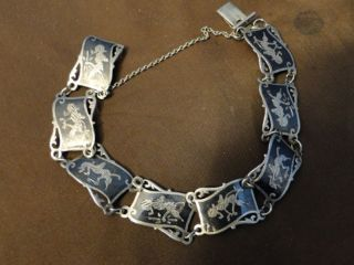 Siamese Niello Sterling Silver Bracelet Circa 1950 photo