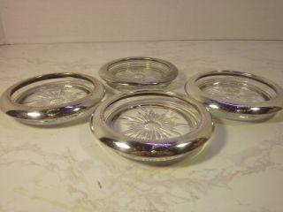 Leonard Clear Glass With Silver Rim Coaster Set photo