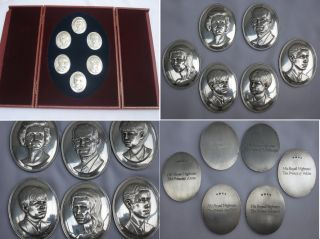 Magnificent Cased English Royal Family Sterling Silver Cameo Collection,  Pinches. photo