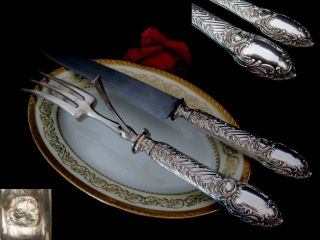 French Sterling Silver Carving Set 2 Pc W/box Roccoco photo
