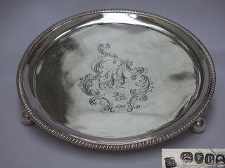 Stunning Example George Iii Antique Sterling Silver Salver Bateman London. photo