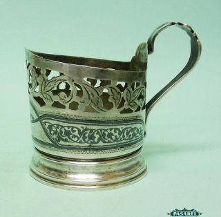 Fine Russian 875 Silver And Niello Glass Holder 1950 ' S photo