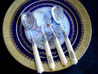 Puiforcat Antique French Sterling Silver Dessert Serving Set 4/ps photo