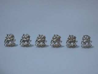 Set Of 6 German Sterling Place Card Holders,  C 1910 photo