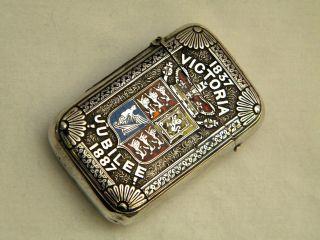 Victorian Silver & Enamel Vesta Case Queen Victoria Jubilee Birm 1886 photo