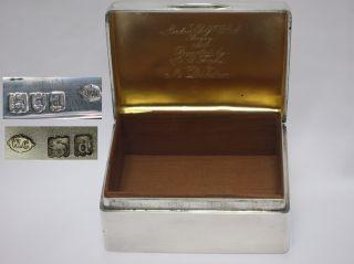 Huge English Victorian 1899 Sterling Silver Cigarette Box William Comyns 385gms photo