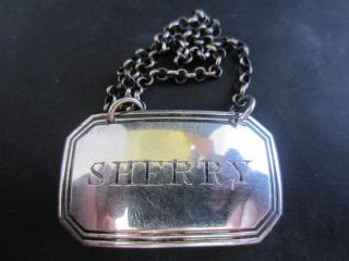 Solid Silver Decanter Bottle Label - Sherry - Birm Circa 1828 photo