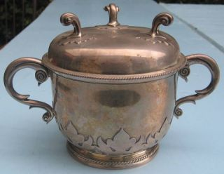1927 English Sterling Silver Porringer With Cover Rare photo