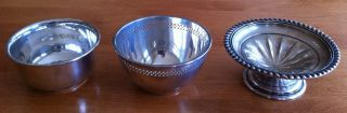 Three Birks Sterling Silver Dishes - 2 Bowels And Pedestal Compote. photo