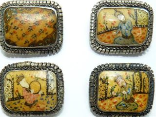 Set 4 Vintage Palestine Sterling Silver Brooches,  Hand - Painted Porcelain Panels photo
