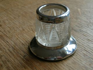 Rare Hallmarked Solid Silver/cut Glass Match Striker - 1942? photo