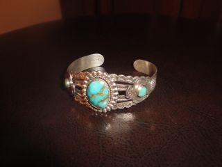 Navajo 1920 ' S Sterling Silver Heavy Bracelet photo