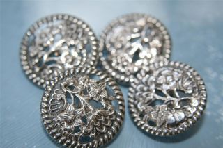 Sterling Solid Silver Buttons Set Of 4 Hm Chester 1902 - 13g Cs Fc photo