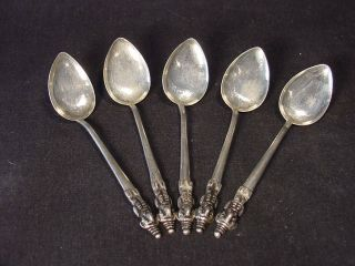 Set Of 5 Unusual Silver Figural Spoons photo