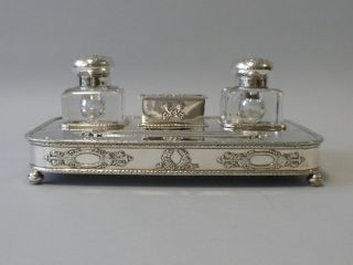American Sterling Silver Double Inkwell & Stamp Box On Stand photo