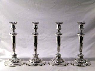 Antique Georgian Set Of 4 Geo.  Iii Silver Candlesticks Sheffield 1808 photo