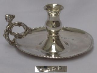 Edwardian 1904 English Sterling Silver Chambermaid Candle Holder George Unite. photo