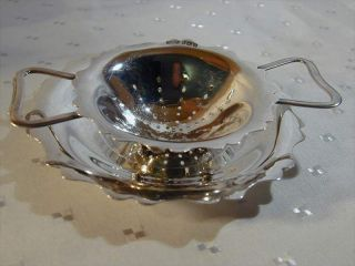 Solid Sterling Silver Tea Strainer & Stand Dated 1943 photo