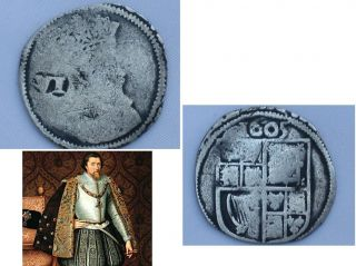 English Sterling Silver Sixpence Of King James I 1605 Gunpowder Plot. photo