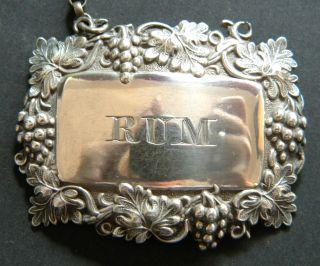 Joseph Willmore Antique English Sterling Silver Rum Decanter Wine Label 1842 photo