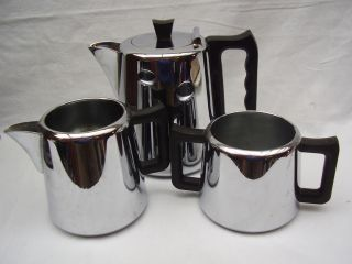 Vintage Swan Brand Chrome Plate Teapot,  Milk And Sugar Bowl photo