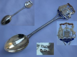 Quality Edwardian 1907 Sterling Silver/enamel Spoon,  Edinburgh Coat Of Arms. photo
