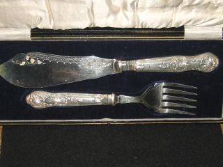 Sheffield Antique English Fish Servers. .  Sterling Silver. .  1902. . . photo