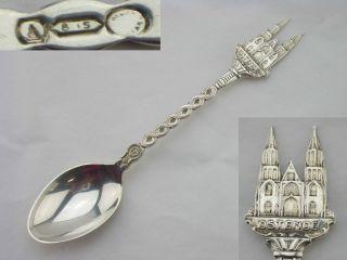 Belgian Silver Souvenir Spoon 1930c (ostende Cathedral) photo