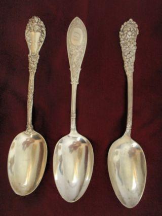 Rare Art Nouveau Sterling Silver Serving Spoons Marechal Niel,  Trajan,  Arabesque photo