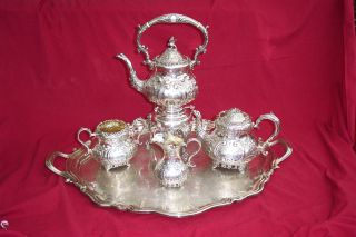 1909 Antique English Sterling Silver 6 Piece Tea Set - Fenton Brothers photo
