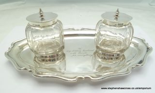 Antique Sterling Silver Desk Double Inkwell Set By Atkin Of Sheffield photo