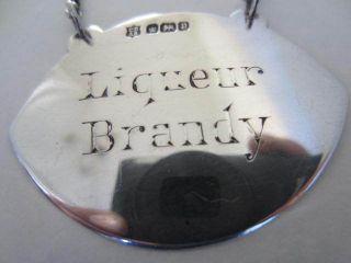 Sterling Silver Liqueur Brandy Decanter Label. . .  1907. . . photo