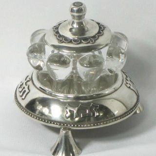 Fantastic Sterling Silver Filigree And Crystal Honey Dish photo