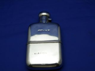 1903 Antique English Sterling Silver Hip Flask With Detectable Cup photo