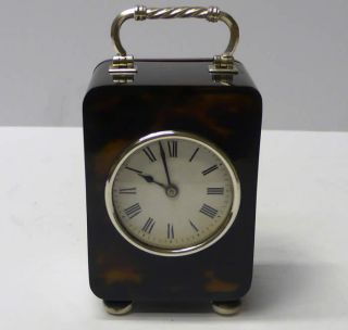 Antique Silver And Faux Tortoiseshell Carriage Clock 1913 photo